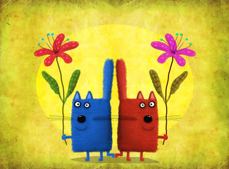 Panel Szklany Kot Cats-Twins Holding Flowers On Yellow Background