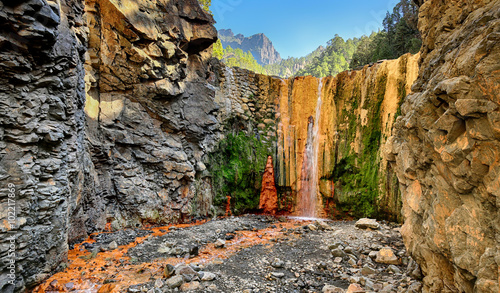 Poster Waterfalls Waterfall Cascada de Colores at La Palma (Canary Islands)