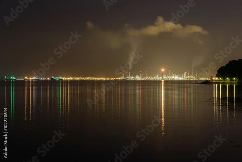 Aluminium Prints Dark grey Oil refinery at night in Singapore