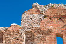 Section Of The Upper Perimetral Arcade Of The Greek Theater Of Taormina, Sicily