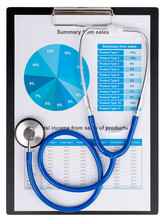 Stethoscope On The Chart Statistics Business Sales Report