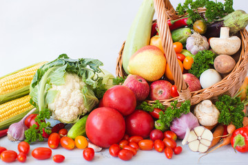 fruits and vegetables pile close-up.