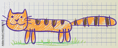 Cat drawn in childish manner
