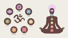 Chakra Icons With Human Silhouette Doing Yoga Pose