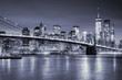 View of Manhattan and Brooklin Bridge by night, New York City