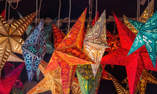 Paper Star Shape  Laterns Hanging On The Market For Sale
