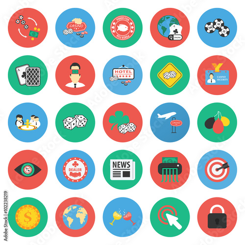 Casino, gambling 25 flat icons set for web плакат