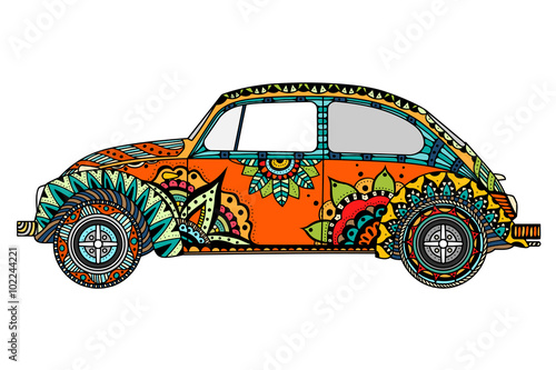 Fotografía  Vintage car in zentangle