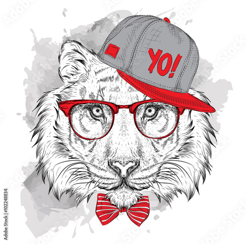 Photo Stands Hand drawn Sketch of animals The poster with the image tiger portrait in hip-hop hat. Vector illustration.