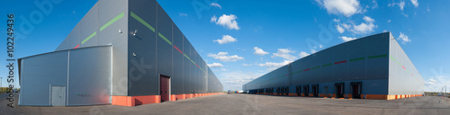 Aluminium Prints Industrial building Panorama of big industrial warehouse buildings