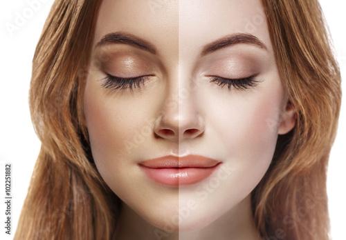 woman tan half face beautiful portrait spray Poster