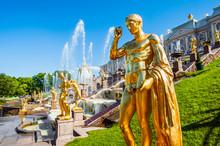 Golden Statue At Grand Cascade...