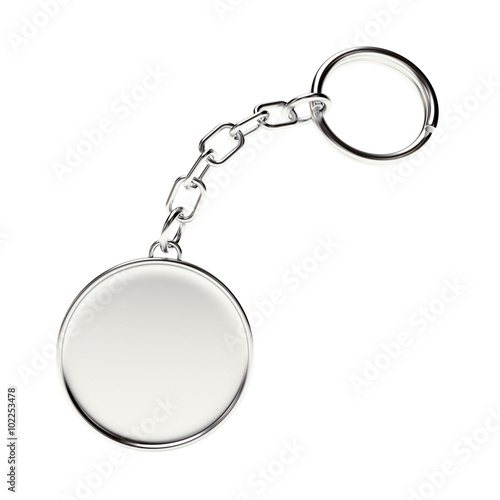 Photo Blank round silver key chain with key ring isolated on white background
