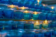 Dark Artistic Blue Glass Votiv...