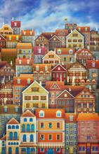 Cute City Street Scene ,Many Houses