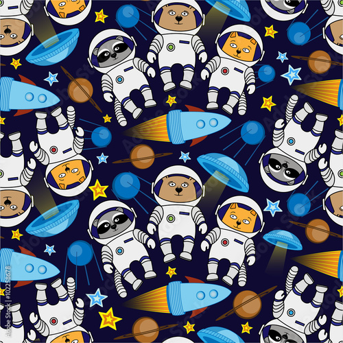 Seamless cat, bear, raccoon cosmos astronaut pattern Wallpaper Mural