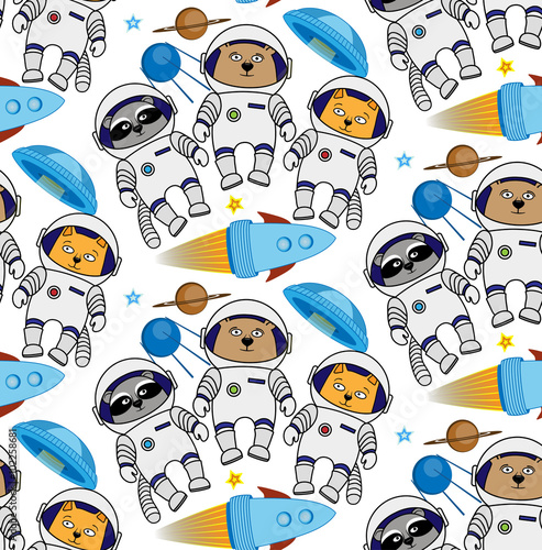 Seamless cat, bear, raccoon astronaut pattern Wallpaper Mural