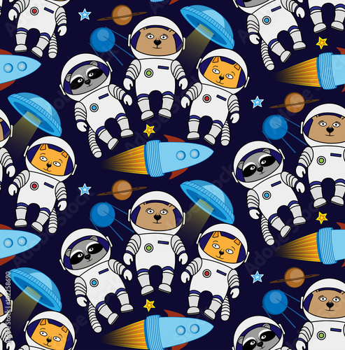 Photo  Seamless cat, bear, raccoon cosmos astronaut pattern