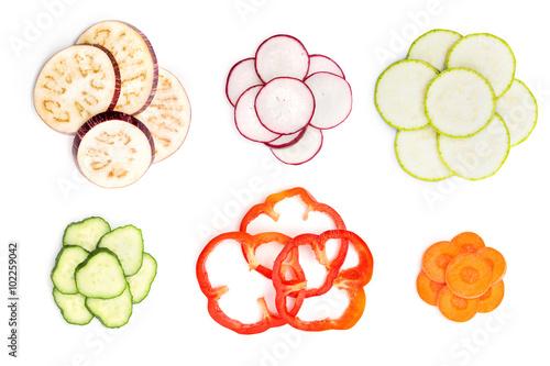Fotografie, Obraz  Set of sliced vegetables