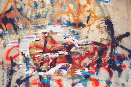 Poster Graffiti Urban grunge texture, torn posters and graffiti on street wall