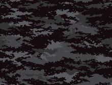 Digital Pixel Camouflage Black Seamless Pattern