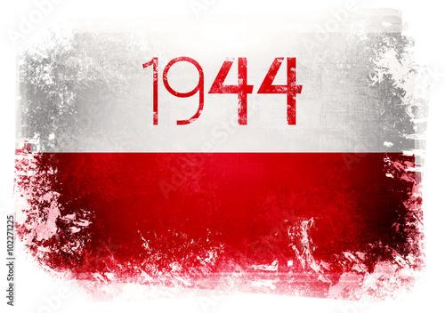 Plakat Powstanie Warszawskie - symbol - flaga