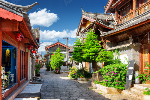 Scenic view of narrow street in the Old Town of Lijiang, China