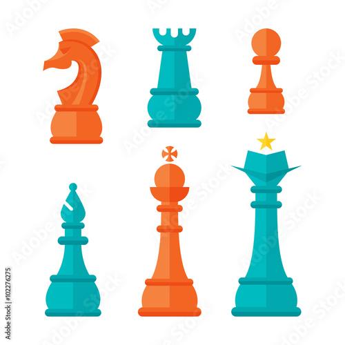 Fotografie, Obraz  Flat Design Chess Units