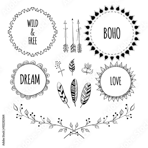 Foto auf AluDibond Boho-Stil Set of Boho Style Frames and hand drawn elements. Hand drawn sign in boho style with arrows and feathers. Set of Ornamental Boho Style Elements. Vector illustration.