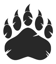 Black Bear Paw With Claws. Ill...