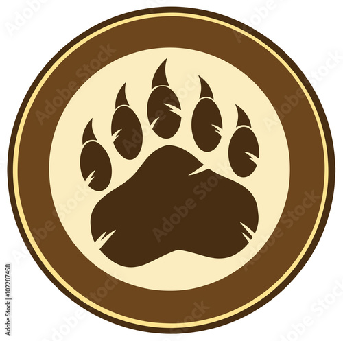 Photo  Brown Bear Paw Print Circle Label Design