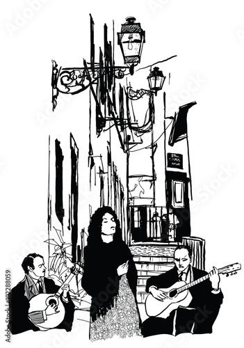 Photo sur Toile Art Studio Fado singer and guitar players in Alfama Lisbon