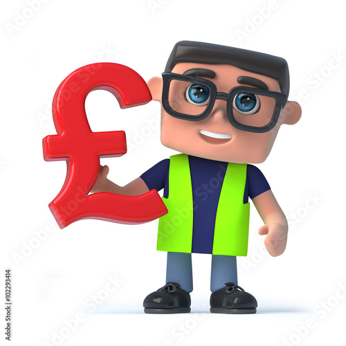 3d Health And Safety Worker Holds A Uk Pounds Sterling Currency