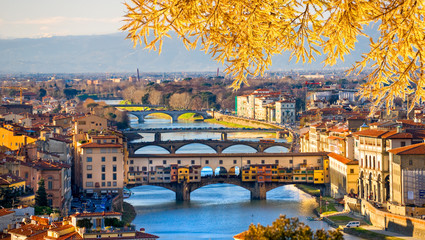 Fototapeta Mosty Sunset view of Ponte Vecchio, Florence.