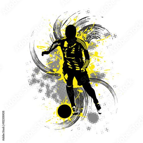 Fotografie, Obraz  Fußballspieler vor gelbem Hintergrund mit Farbspritzern