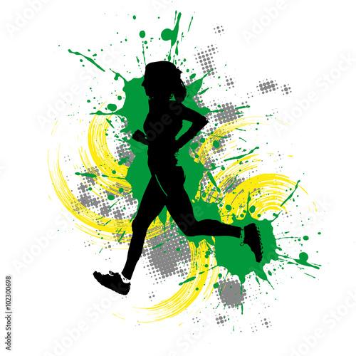 Fototapety, obrazy: Läufer vor buntem Hintergrund mit Farbspritzern