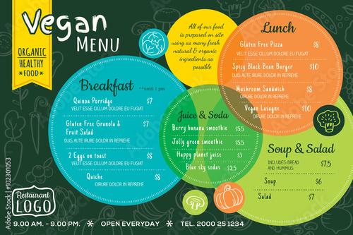 Fotografie, Obraz  colorful organic food vegan restaurant menu board or placemat template