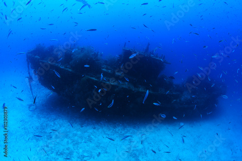 Foto op Canvas Schipbreuk Fesdu shipwreck in the indian ocean