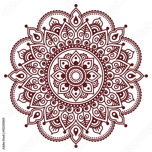 Fotografía  Mehndi, Indian Henna brown tattoo pattern or background