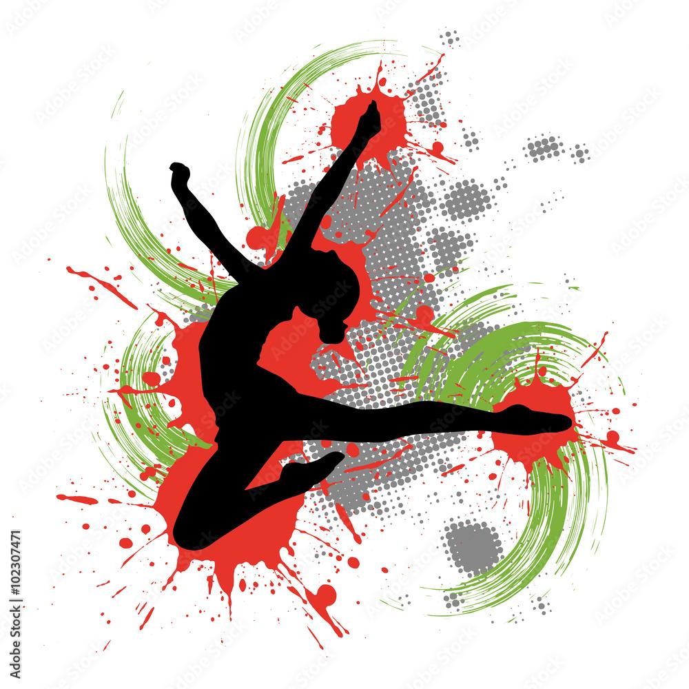 Tänzerin vor buntem Hintergrund mit Farbspritzern Foto