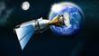 Rakete mit Satellit  im Weltall,  Erde und Mond