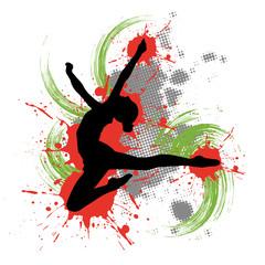Fototapeta Tänzerin vor buntem Hintergrund mit Farbspritzern
