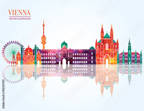 Vienna skyline detailed silhouette. Vector illustration Poster