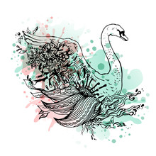 Swan Watercolor, Abstract Graphic Colored Bird, Print.