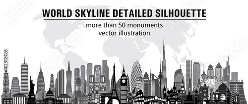 Cuadros en Lienzo World monuments detailed skylines. vector illustration