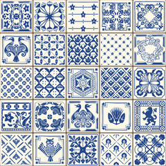 Fototapeta Mozaika Indigo Blue Tiles Floor Ornament Collection. Gorgeous Seamless Patchwork Pattern from Colorful Traditional Painted Tin Glazed Ceramic Tilework Vintage Illustration. Vector template background Azulejos