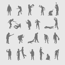 Vector Set Silhouettes Of A Ma...
