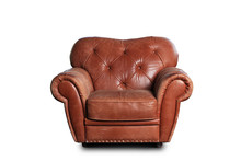 Old Worn Leather Chair Brown With Rivets