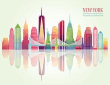 New York Detailed Skylines. Vector Illustration