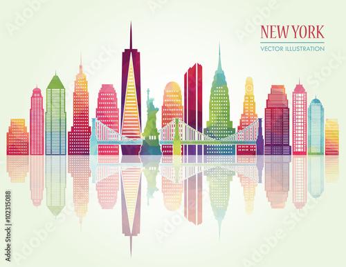 Photo  New York detailed skylines. vector illustration